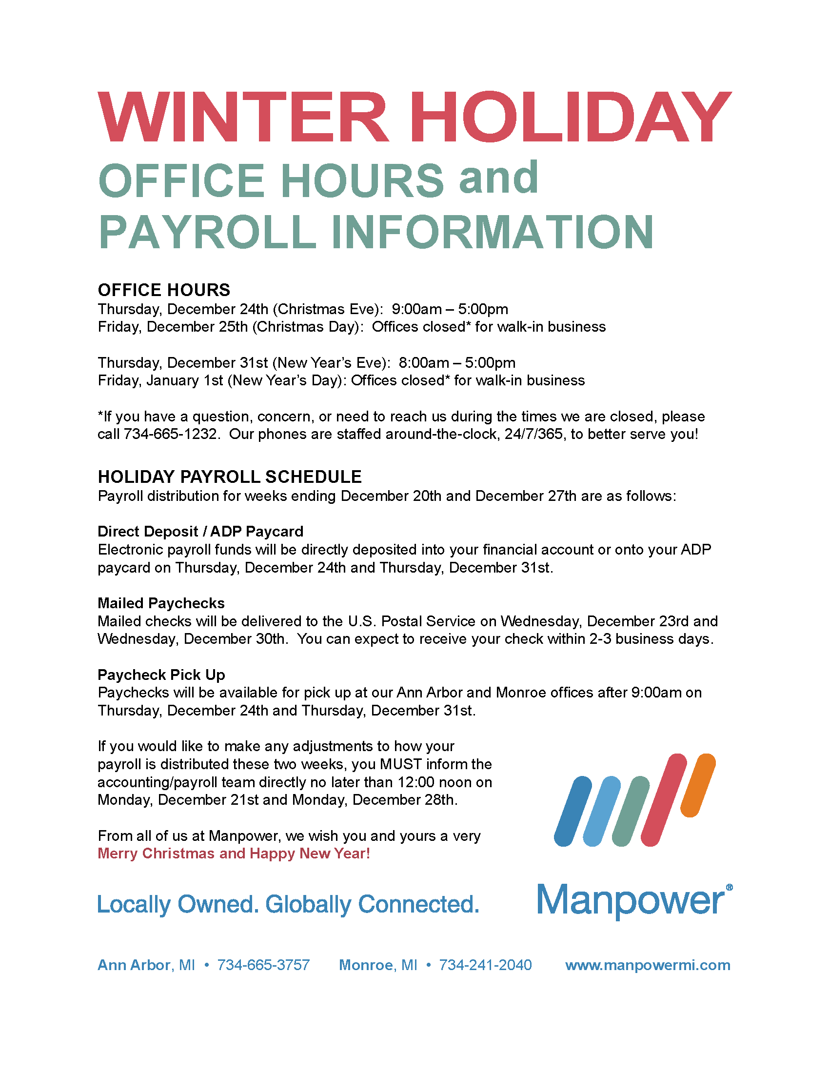 Christmas and New Year\'s Holiday Office Hours and Payroll Info ...