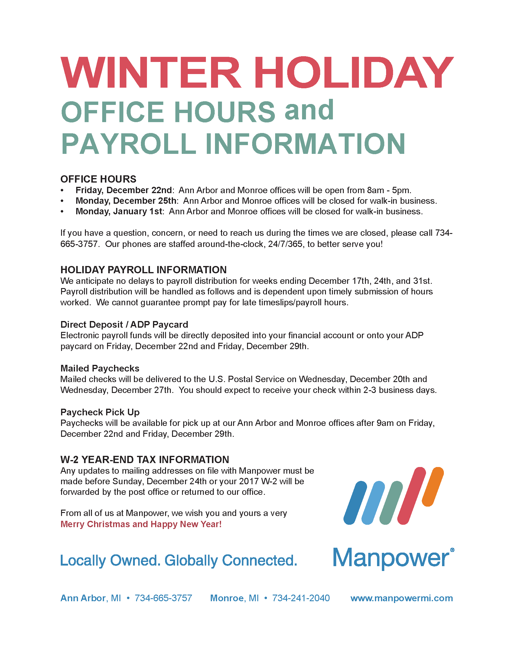 Winter Holiday fice Hours and Payroll Information